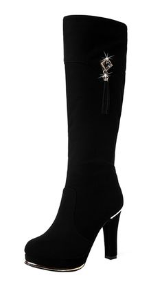 T&Grade Women Metal Tall Shaft Boot Skidproof Chunky Heel Zipper Platform Winter Boot Stylish Warm B(M) US, Black) Long Boots, Black Boots, Chunky High Heels, Desert Boots, Calf Boots, Heeled Boots, Platform, Stylish, Zipper