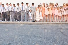 How cute is this wedding party?! love the groomsmen with thier skinny jeans and suspenders