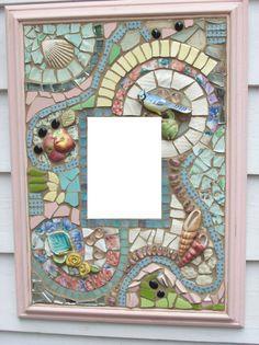 Broken China Mosaic Mirror Summer Pinks and by cherylmillermosaics, $95.00