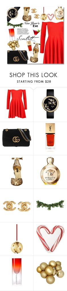 """Untitled #3385"" by snickres ❤ liked on Polyvore featuring Boohoo, Gucci, Yves Saint Laurent, Dolce&Gabbana, Versace, Chanel, Draper James and Kartell"