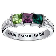 Mother's Princess-Cut Simulated Birthstone Ring in Sterling Silver (3 Stones, 1 Line)