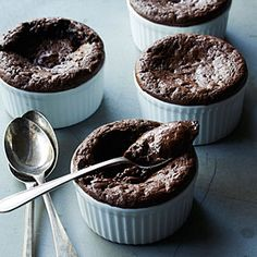Molten Chocolate Mousse Cups - can be frozen for up to two weeks before baking and serving, so great for planning ahead.