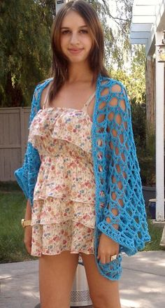 FREE! Hot Blue Shrug Pattern