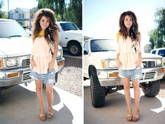 The perfect summer outfit: yellow crop top layered with vintage blouse paired with jean shorts – all thrifted at Savers by Promise Tangeman. Bargain Shopping, Shopping Hacks, Yellow Crop Top, Vintage Blouse, Thrifting, Jean Shorts, Summer Outfits, Pairs, Crop Tops