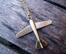 Airplane necklace vintage inspired in bronze