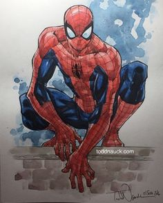 Drawing Marvel Comics Spider-Man in pen/ink and watercolor. He'll be in my studio commission binder at NYCC. Drawn on Canson cold press watercolor board with Pigma Micron pens and Grumbacher watercolor paints. Marvel Art, Marvel Dc Comics, Marvel Heroes, Ms Marvel, Captain Marvel, Spiderman Drawing, Spiderman Kunst, Spiderman Marvel, Comic Books Art