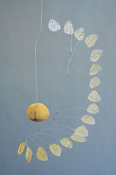 I'm slightly obsessed with kinetic sculpture at the moment - Ochre Tree by Jade Oakley artwork image Mobile Art, Hanging Mobile, Hanging Art, Leaf Wall Art, Metal Tree Wall Art, Metal Art, Tree Artwork, Artwork Images, Decoration