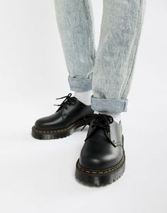 Image 1 of Dr Martens 1461 Bex platform 3-eye shoes in black Sos 327493a6764