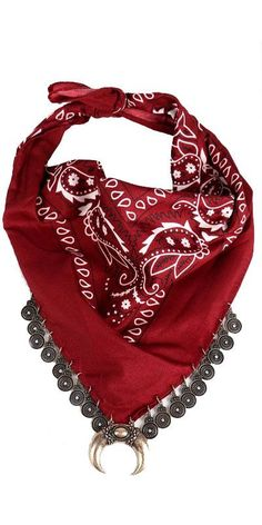 Take a chance and be bold in our bandana scarf. Coin and pendant detail