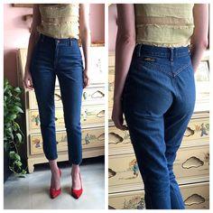 ae2f73fe01852 Vintage Skinny Jeans / High Waist Chic Dark Denim / Skin Tight Jeans / CHIC  by h.i.s / High Waist Skinnies / No Pockets / Cropped Cut Denim
