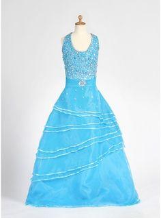 A-Line/Princess Floor-length Flower Girl Dress - Organza/Satin Sleeveless Halter With Beading
