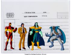 Iron Man Character Size Comparison Cel and Print Group of 7 (Marvel Films, Oh boy, Iron Man fans -- this - Available at Sunday Internet Comics Auction. Marvel Cartoons, Marvel Films, Man Character, Iron Man, Disney Characters, Fictional Characters, Auction, Animation, Comics
