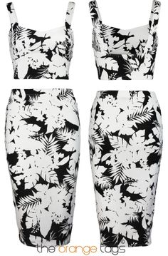 WOMENS LADIES CELEB FLORAL PRINT MIDI SKIRT CROP TOP SUITS in Clothes, Shoes & Accessories, Women's Clothing, Dresses   eBay