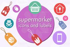 Check out Supermarket icons and labels by Rosa Puchalt on Creative Market