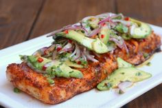 Grilled Salmon with Avocado Salsa Laylitas Recipes Atıştırmalıklar Grilled Salmon Recipes, Avocado Recipes, Fish Recipes, Seafood Recipes, Cooking Recipes, Grilled Fish, Drink Recipes, Salad Recipes, Seafood Dishes