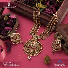 Jadtar Necklace Set gms) - Antique Jewellery for Women by Jewelegance Jewelry Design Earrings, Gold Earrings Designs, Gold Jewellery Design, Gold Jewelry, Diamond Jewellery, India Jewelry, Temple Jewellery, Antique Jewellery Designs, Antique Jewelry