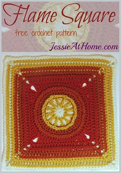 "Flame Square - free crochet pattern by Jessie At Home (12"" square)"