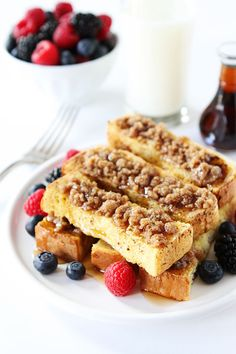 Cinnamon Streusel Baked French Toast Sticks @Maria Canavello Mrasek Canavello Mrasek Canavello Mrasek Canavello Mrasek (Two Peas and Their Pod)
