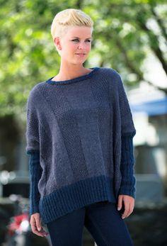 Free Strikkeopskrift | Strik oversize sweater med ribstrikkede ærmer
