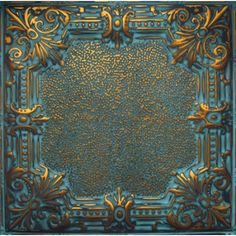 Victorian Flower & Ornate Medallion Design Stamped Antique Look Tin Ceiling Tile - Repeat Pattern Tin Ceiling Kitchen, Metal Ceiling Tiles, Porch Ceiling, Ceiling Fan, Tin Tiles, Tile Crafts, Wall Molding, Diy House Projects, Ceiling Medallions