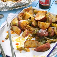 Grilled Potatoes  Peppers (in foil packet...good for camping!)