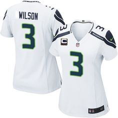 9c516b906 Get Official Women s Nike Seattle Seahawks 3 Russell Wilson Elite White C  Patch NFL Jersey From