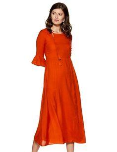 Care Instructions: hand wash Color Name: Orange Viscose Rayon Hand wash A-line Three Quarter sleeve Maxi Valentine Special, India Fashion, High Neck Dress, Sleeves, Dresses, Indian Fashion, Turtleneck Dress, Vestidos, Dress
