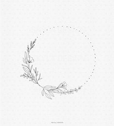 Circle Tattoos, Flower Tattoos, Small Tattoos, Circle Tattoo Design, Tattoo Design Drawings, Art Drawings, Flower Wreath Illustration, Illustration Art, Flower Embroidery Designs