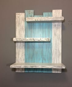 - Coastal Decor Above the Toilet Bathroom Shelf Bathroom Storage-Rustic Wooden Shelves Bathroom- Bathroom Triple Shelf-Farmhouse, pallet projects shelves - Pallet Shelves Diy, Rustic Wooden Shelves, Pallet Wall Decor, Diy Wall Decor, Wooden Diy, Diy Home Decor, Teal Bathroom Decor, Diy Wooden Projects, Pallet Crafts