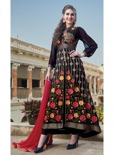 #Black Floral Embroidered Front Slit #Suit Features georgette fabric on top with floral colorful embroidery, santoon inner and bottom,chiffon dupatta.