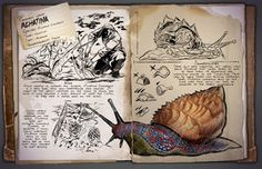 Ark: Survival Evolved Dossiers: Achatina by DJDinoJosh on DeviantArt Jurassic Ark, Game Ark Survival Evolved, Indominus Rex, Survival Books, Extinct Animals, Prehistoric Creatures, Fantasy Creatures, Mythical Creatures, Drawing Reference