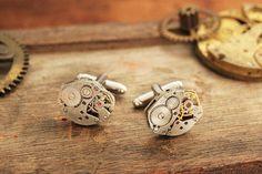 Steampunk cufflinks, men jewellery, found object design, authentic watch movement Cuff Button, clockwork groom cufflinks, retro gift for men...