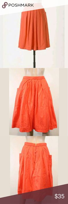 Anthropologie Field Scout Orange Red Full Skirt 8 Condition  - Minimal wear/ no piling - Excellent, like new condition!  Noted Features   - Exposed back zip, side pockets, full a-line style  Measurements   Bust: -  Waist: 14 inches across (28 around)  Hip: 22 inches across (44 around)  Length: 25 inches long  Sleeve: -   Size  ? size 8  Material  100% cotton Anthropologie Skirts A-Line or Full