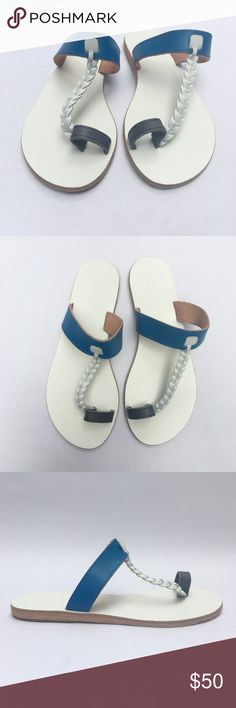 """Ancient Greek Gladiator Slip On Thong Sandals WF13 Ancient Greek Sandals Women's Blue White Gray Round Slip On Flat T-Strap, Toe Cover, Braided Accent   Size: 6 US 36 EU Color: Blue White Gray Pattern: Multi Toe: Round Heel: Flat Heel Height: 0.25"""" Closure: Slip On Upper: Leather Lining: Leather Sole: Leather Country: Greece Condition: New, sole has marker, does not affect integrity of gorgeous shoe! Comes from a pet and smoke free environment!  WT: 0.14 SKU: WF_013; 1 All measurements are…"""