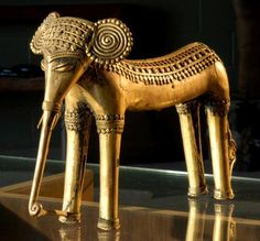 Tribal elephant  A great cast and hand built brass elephant from a very particular area of Kerala, India.  The body is cast and then all of the detail work is hand applied making every piece a one of a kind sculpture.