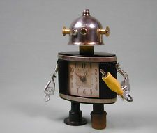 """TALC"" Found Object Robot Sculpture Assemblage by Sally Colby"