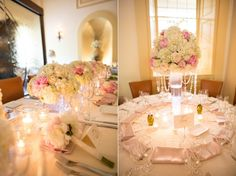 Pink and champagne soft muted peonies and hydrangeas // WaterWorks wedding photography reception decor // Lauren Fair Photography