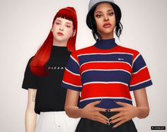 High Neck Tees for The Sims 4 by BY2OL