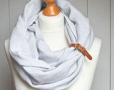 Leinen-unendlich Schal tube unendlich Schal mit Manschette Lederarmband, reines Leinen Mode, Eco-Style, alle natürlichen