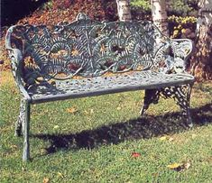 Garden Bench Cast Aluminum patio Garden Furniture Heart Loveseat