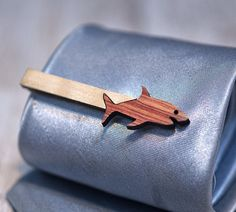 SHARK Tie Clip  Maple wood and Bois de Rose by GothChicAccessories