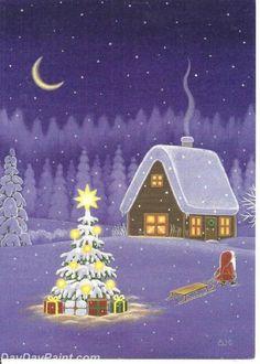 christmas cabin by swedish illistrator Eva Melhuish Christmas Scenes, Noel Christmas, Vintage Christmas Cards, Winter Christmas, Xmas, Illustration Noel, Christmas Illustration, Illustrations, Swedish Christmas