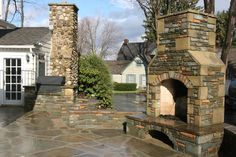 Natural stone design, fireplaces in stone, stone patio, and stone artwork Outdoor Stone Fireplaces, Stone Masonry, Mason Work, Patio Flooring, Natural Stones, Garden Design, Mansions, Landscape, House Styles