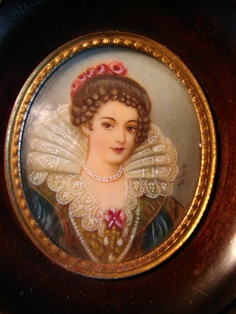 Antique Lady Miniature Portrait Signed ELISABETH DE FRANCE | eBay