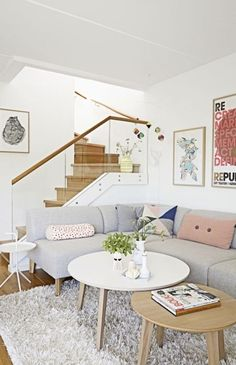 Pinks greys white living space