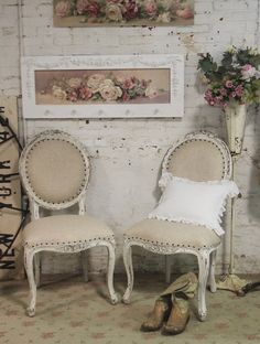 Painted Cottage Chic Shabby Farmhouse  Chair von paintedcottages