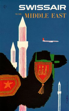 Silhouettes on Travel Poster Middle East ? Swiss Air by Fritz Bühler Silhouettes on Travel Poster Ireland Love this vintage . Poster Art, Retro Poster, Kunst Poster, Poster Vintage, Vintage Travel Posters, Vintage Ads, Vintage Airline, Vintage Luggage, Vintage Prints