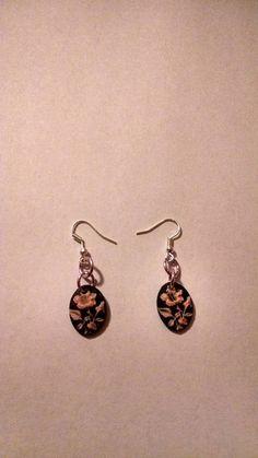 Pink Hibiscus Cameo Dangle Drop Silver Fish Hook Earrings