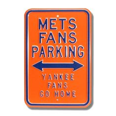 New York Mets Orange Parking Sign