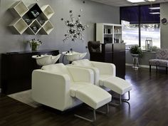 Love these shampoo chairs, except not in white unless the only service you do is bleach!